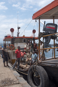 The crew of the MV Makila, one of the first ships to participate in the evacuation of Ambae island