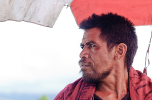 A fish vendor at the market in Apia.