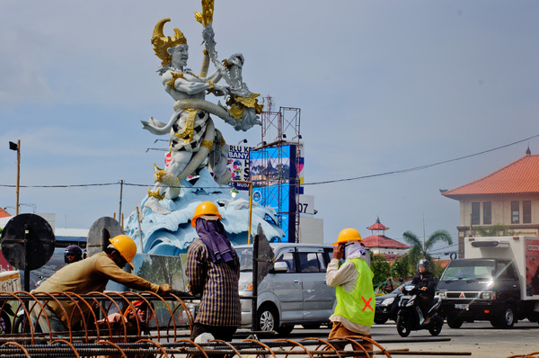 As construction roars all around, this monument dominates a major intersection between Kuta, Sanur and Denpasar in Bali, Indonesia.