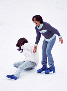Two young skaters try their skill on an outdoor rink near the Kalemegdan, the old Fortress at the heart of old Beograd.