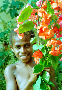 Bong was one of the children helping garland my house with flowers  at a recent fund-raising event.