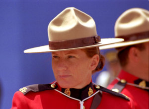 Another postcard-type shot, this time of a woman Mountie. I took