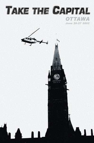 One of a series of images documenting (and propagandising) the two days of protest against the brand of globalisation espoused by the G8. The surveillance helicopters were a constant and intrusive presence  during both the marches held during the protest. This image provided a fitting juxtaposition of symbols.