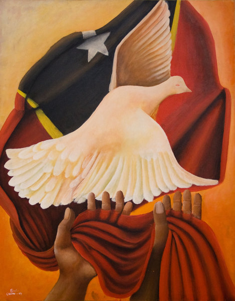 Liberation art from the offices of the East Timor Development Agency. This NGO sponsored the piece, created by an artist with no prior experience.