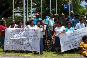 A picket that was set up briefly at the entrace to the University of the South Pacific's Emalus campus in Port Vila. Staff were protesting the University's decision to seek an exemption from recent changes to severance pay enacted by the Government of Vanuatu.