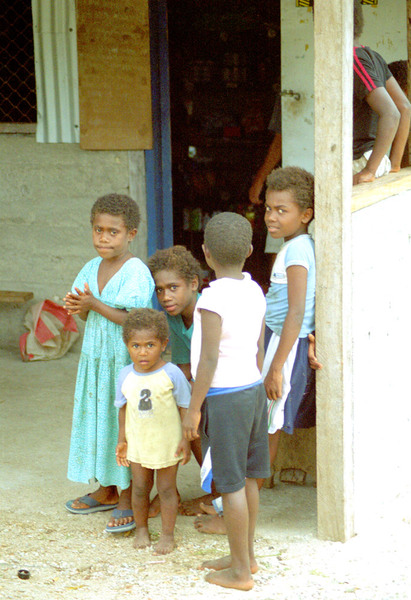 A group of children in the village of Epau, on the far side of Efate from Port Vila.
