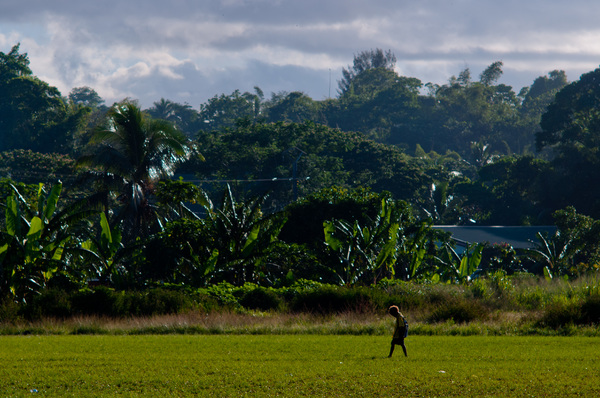 A boy walks home from Freswota school.