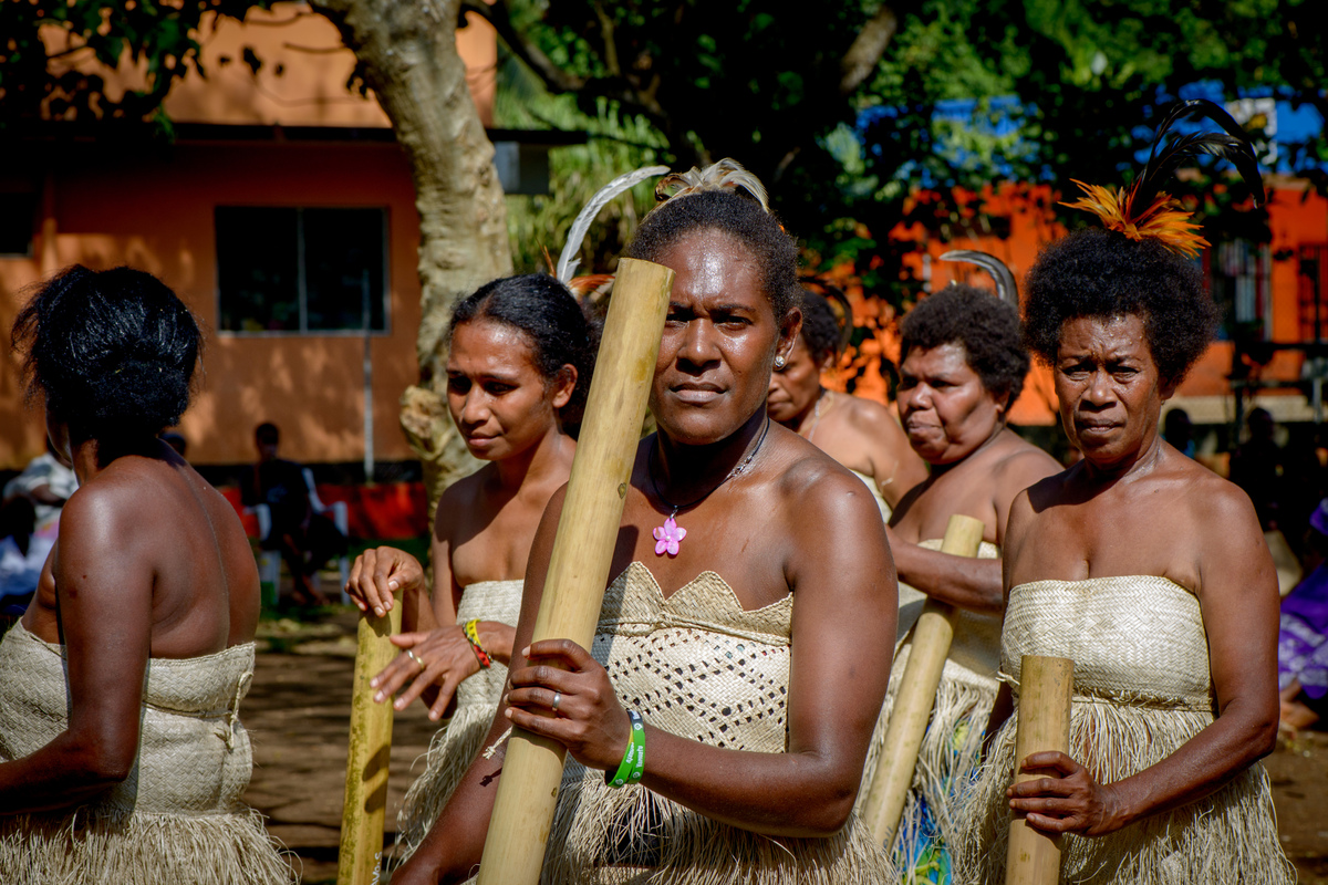 Kastom dancers from South Maewo performing in Freswota Park, Port Vila.