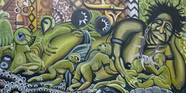 This (unfortunately unattributed) painting stands outside the  National Museum in Honiara, Solomon Islands. It appears to depict a local creation myth... ... Either that, or Melanesian tentacle porn. 8^)