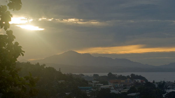 The sun sets over Honiara.