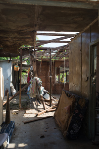 Wilma's family home on Ifira island. It is still in need of major renovations three months after cyclone Pam caused extensive damage.
