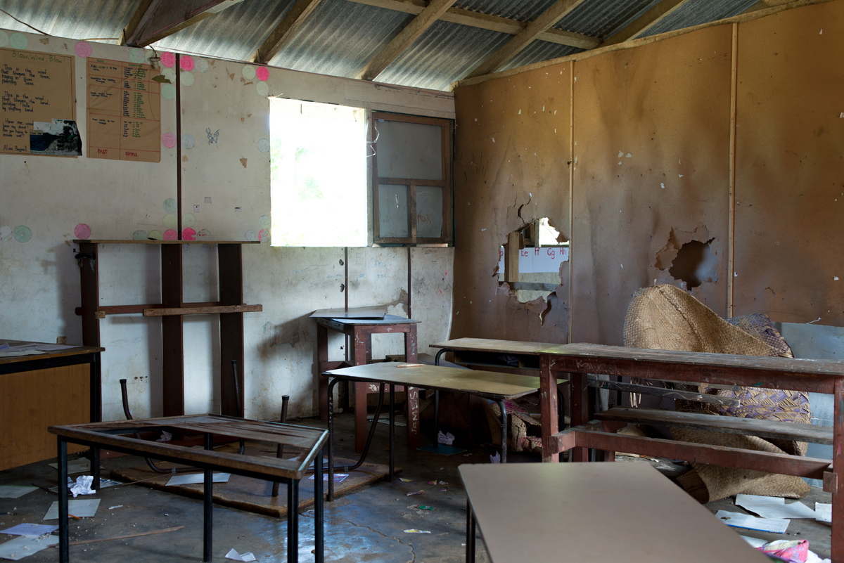 A classroom at the English school on Ifira island is still a shambles three months after cyclone Pam badly damaged the building.