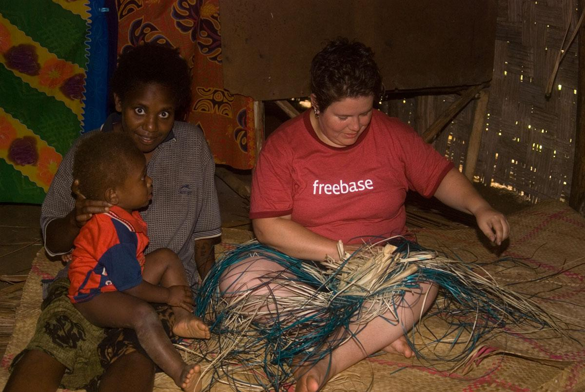 Everyone was impressed when Kirrily picked up weaving so quickly. Here she's at work on her own basket.