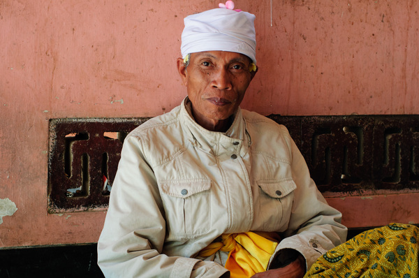 This man looks after a mountain-top temple in Lombok, Indonesia.
