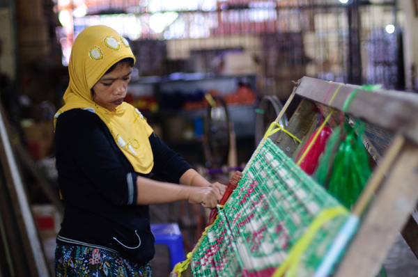 A few shots taken on a visit to a local weaver/fabric makers' cooperative in Lombok Praya, Indonesia.