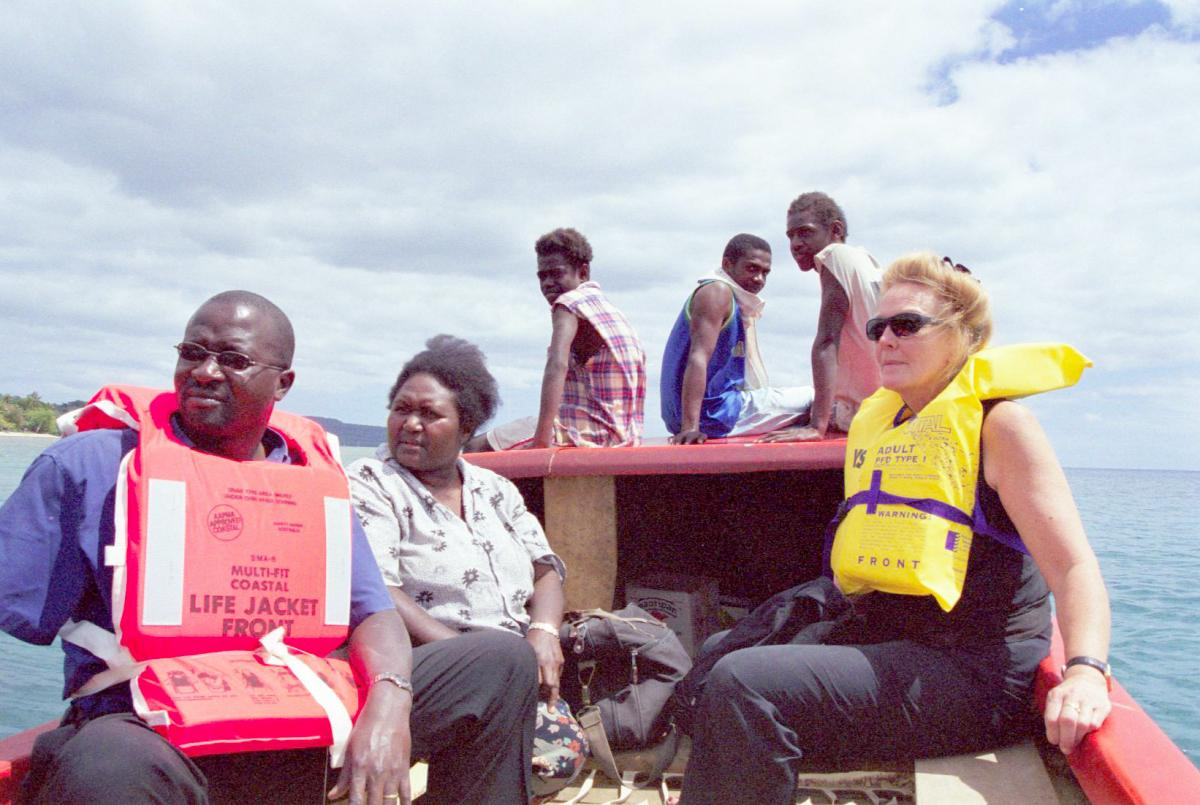 As with all of the small islands that surround Efate, the only means of access is by small boat. Having gained the permission of the young boys perched on the bows, I took this photo of our small contingent during the crossing. Wearing life jackets are Lyn and Hezbourne, fellow volunteers. Not wearing a lifejacket is our Bislama teacher and interpreter, Joy. The boys did their best not to giggle at the nervousness expressed by  the newcomers when the wind picked up and we felt the first small ocean swell.