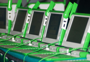 Some One Laptop Per Child 'XO' laptops on display at PacINET 2007 in Honiara, Solomon Islands. These machines are the first to be deployed in the Pacific Region. They'll be given to children at a Distance Learning Centre in the Solomon Islands.