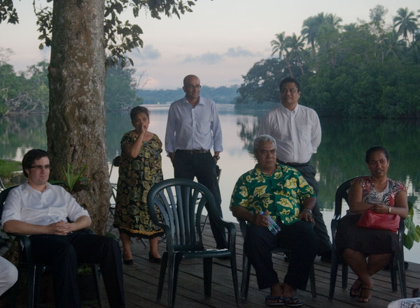 After the initial day of presentations, members of the regional delegation were invited by the Pacific Institute of Public Policy to spend a quiet evening relaxing at Hannington's nakamal on the Second Lagoon.