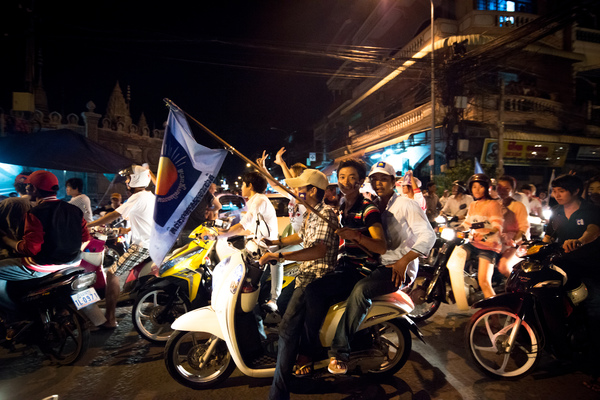 A political rally in downtown Phnom Penh.