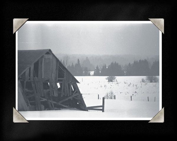 This is one of a series of photos I prepared with a vintage photo album theme. The tilting barn listed a few degrees more every year for about a decade. It collapsed almost exactly one year after this photo was taken.