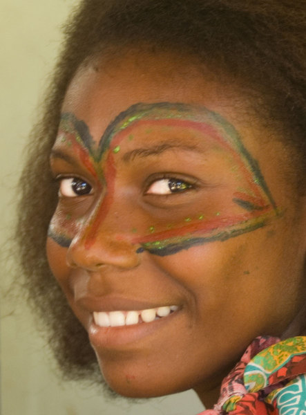 Close up of one of the young women from a tourism promotion shoot.