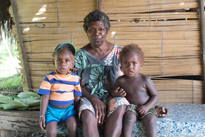 Grandmother and grandsons at Port Olry, Santo.