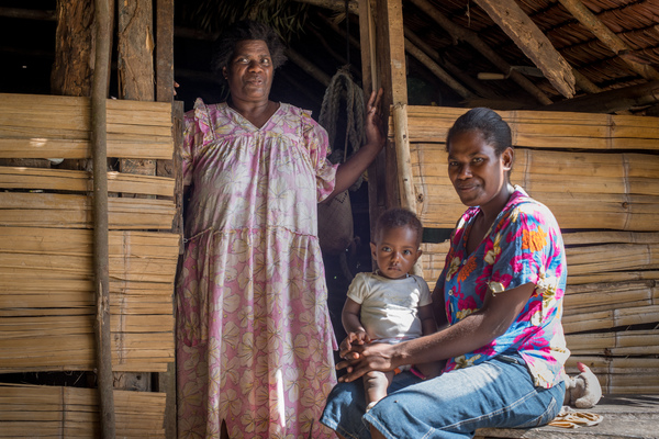 Grandmother, mother and grandson at Port Olry, Santo.