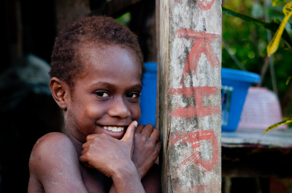 Friendly faces from all over Santo town.