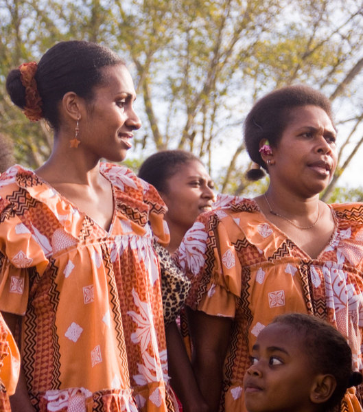 Some of the women who participated in the <em>kastom</em> dance that capped a wedding ceremony we recently attended.