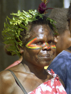This woman walked with the entire population of her village into Isangel dressed in 'kastom' fashion. They performed a thanksgiving dance at the opening of the first full-time radio station ever on their island.