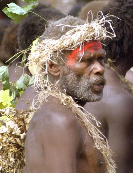 This chief led the entire population of his village into Isangel dressed in 'kastom' fashion. they performed a thanksgiving dance at the opening of the first full-time radio station ever on their island.