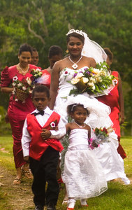 Lily's wedding party arrives at Tara Beach resort on a  very blustery day.