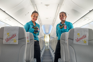 Workers gathered to inspect the newest addition to Air Vanuatu's fleet - a Boeing 737-800, which arrived in Port Vila yesterday.