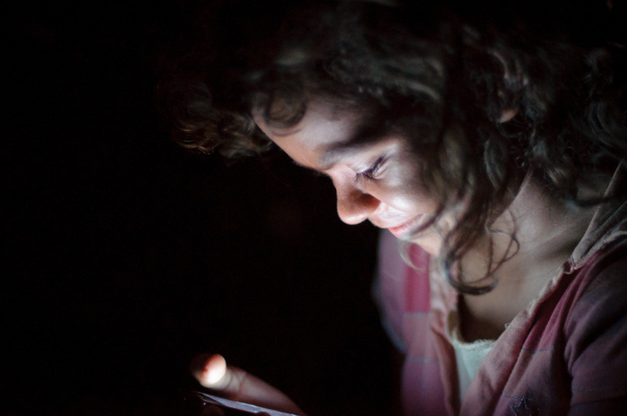 Young Girl with Android Mobile Phone