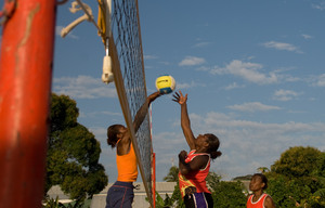 One of a series of photos taken during a recent practice match between Vanuatu's national womane's beach volleyball squads.