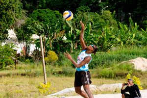 A friendly match between Vanuatu Beach Volleyball team sides.