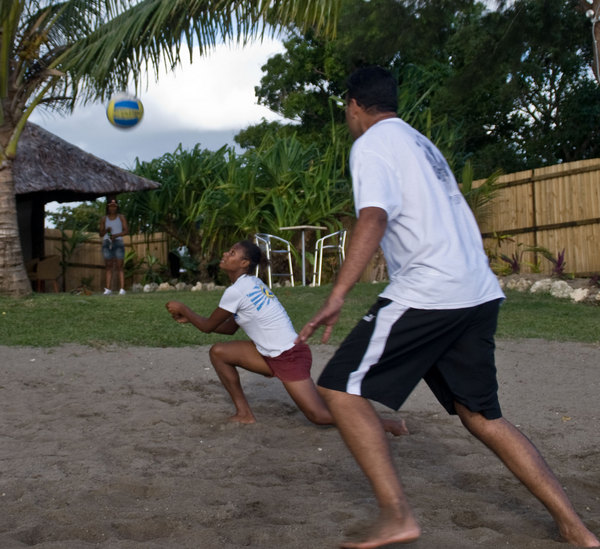 One of a series of photos taken in a recent event promoting beach bolleyball in Mele recently.