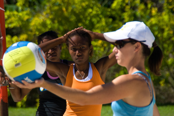 One of a series of shots taken during a recent training session for Vanuatu's young beach volleyball team.