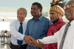 West Papua independence leader Benny Wenda on his historic visit to the Vanuatu parliament.