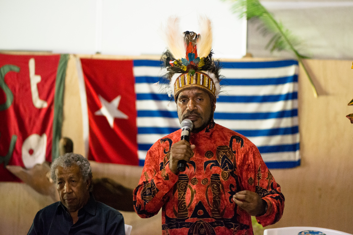 Benny Wenda at Chiefs' Nakamal in Port Vila.