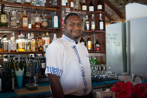 Breakas resort was one of hundreds of businesses that was badly damaged by cyclone Pam. Phillip spent two months helping to reconstruct the resort before returning to his duties behind the bar.