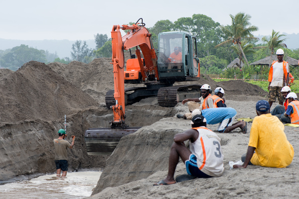 An historic day for Vanuatu: Landing operations for its first undersea fibre-optic cable.