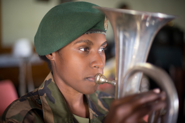 Karina plays second horn in the Vanuatu Mobile Force band, but she doesn't take second place to anyone.