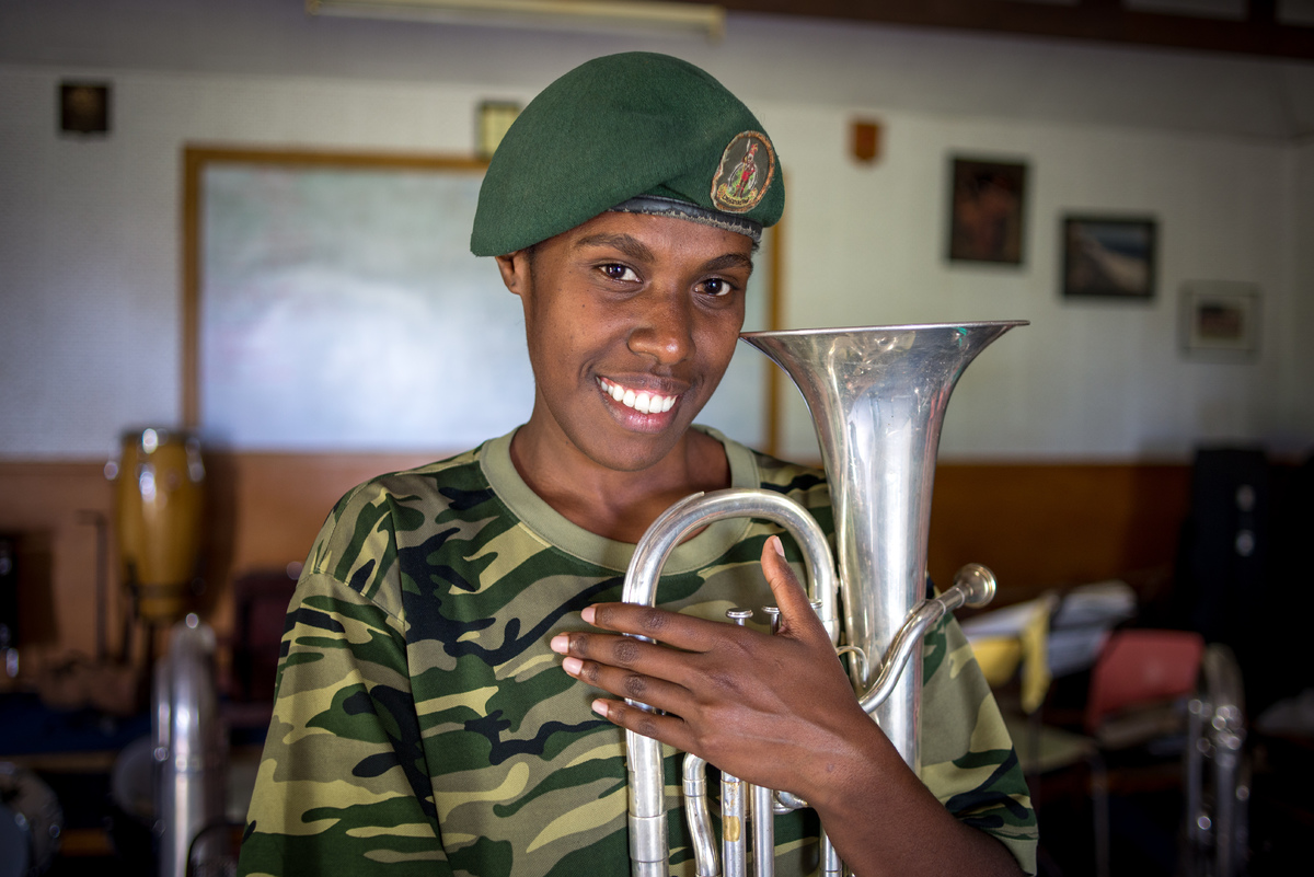 Carina plays second horn in the Vanuatu Mobile Force band, but she doesn't take second place to anyone.