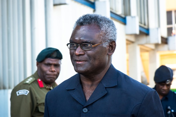 Solomon Islands Prime Minister Manasseh Sogavare arrives at Constitution Day ceremonies in Port Vila, Vanuatu. He is in Vanuatu to sign a border treaty with Vanuatu PM Charlot Salwai.