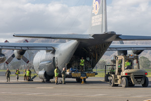 Medicine arrives via RNZAF Hercules from Suva.