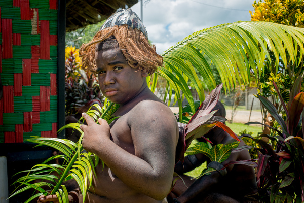 Kastom dancers on Chiefs' Day outside the Chiefs' Nakamal in Port Vila.