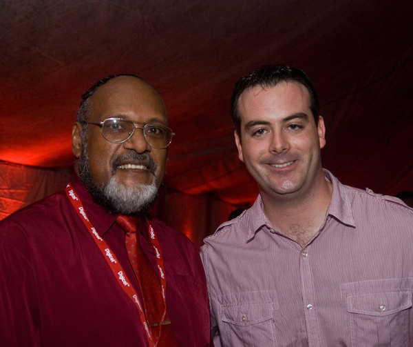 Digicel General Manager John Delves and Minister Edward Nipake Natapei in the VIP tent at the Digicel launch celebrations.
