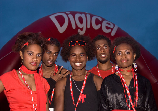 Greeters at the Digicel launch party.