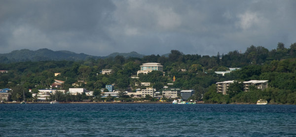 Viewed from across the bay at Ifira Point. The large white building dominating the centre is the Reserve Bank of Vanuatu. The smaller, pale blue high-rise houses the company I managed until late last year.